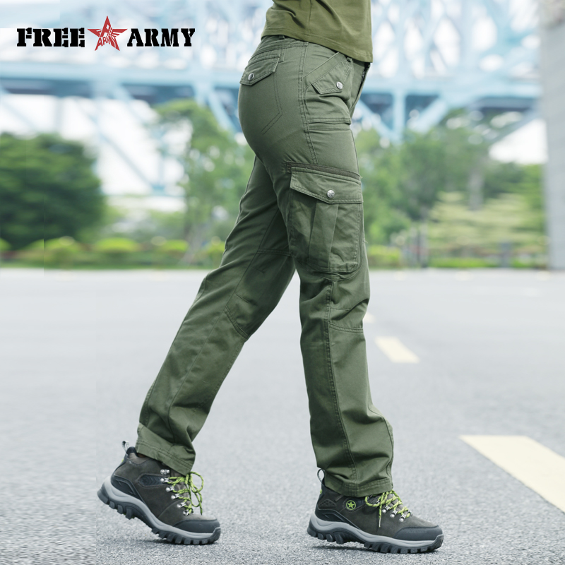 great varieties professional sale outlet boutique FreeArmy Casual Joggers Women Autumn Cargo Pants Trousers Thick Military  Green Pockets Pants Straight Trousers Women's Capris