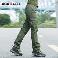 FreeArmy Casual Joggers Women Autumn Cargo Pants Trousers Thick Military Green Pockets Pants Straight Trousers Women's Capris