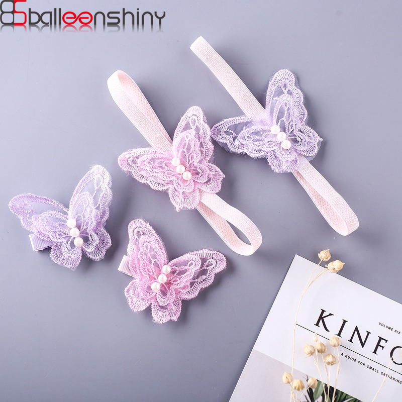 BalleenShiny Soft Baby Girls Lace Butterfly Hairband Hairpin Toddler Purple Elastic Head Band Hair Clip Princesses Accessories