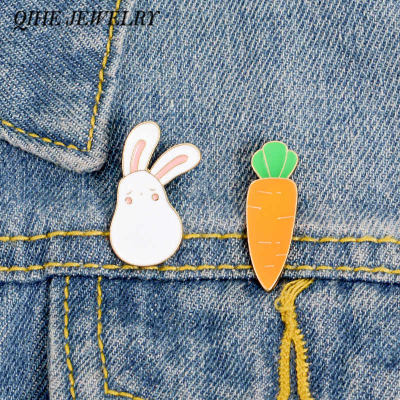 QIHE JEWELRY Bunny and Carrot Pins White Rabbit Lapel pin Easter Bunny Jewelry Animal Enamel pin Brooches for Rabbit lover