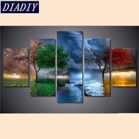 5d Diy Diamond Painting Four Seasons Trees Cross Stitch Round Diamonds Full 5d Diamond Embroidery 5pcs