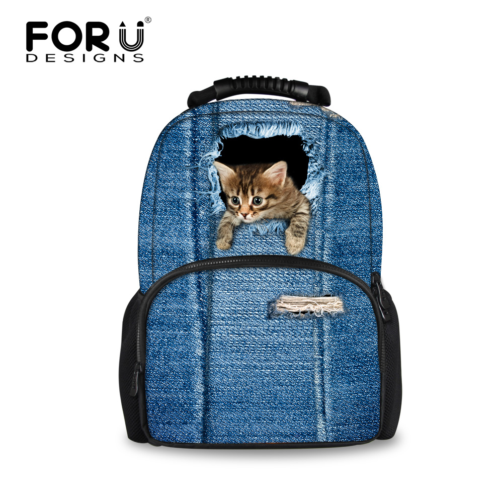 FORUDESIGNS Blue Jean Kawaii Cats And Dogs Pattern Shoulder Bags For Women Teenagers Backpack Book Bag Large Capacity Mochila  цены