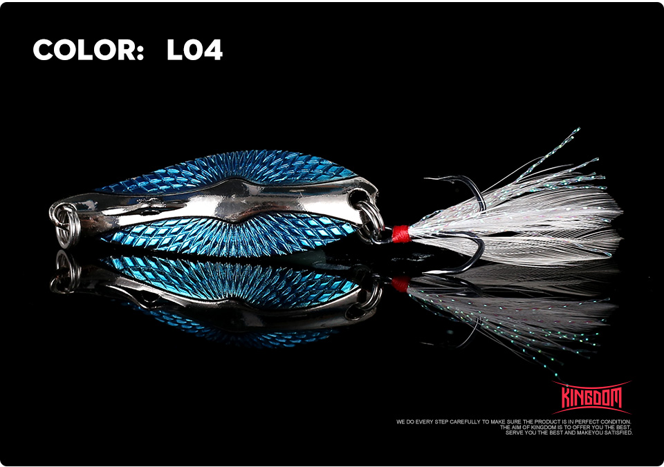 Kingdom Metal Lure Spinner Spoon Fishing Lures Hard Baits 1PC Full Aqueous Layer Metal Material With Feather Hook Fishing Tackle (14)