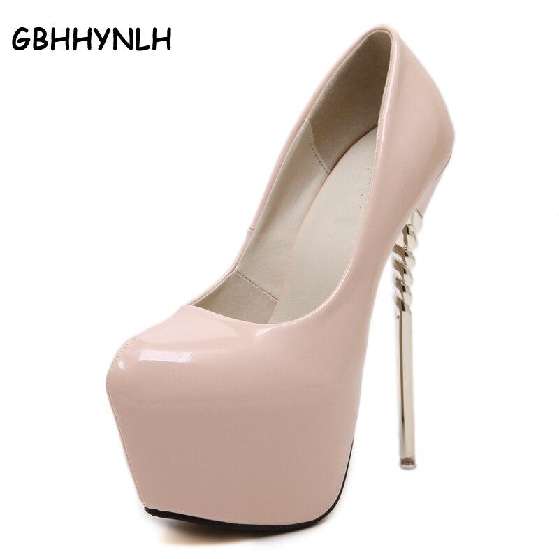 Yüksek topuklu ayakkabılar kadın ayakkabı seksi extreme yüksek topuklar düğün ayakkabı pompalar patent deri topuklu parti ayakkabı boyutu 34-40 D652-1