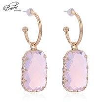 Badu Cute Pink Earring Opal Crystal Pendant Gold Zinc Alloy Hoop Earrings for Girls Lovely Party Jewelry Wholesale