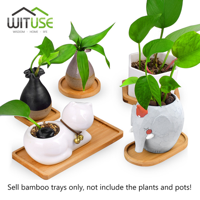 WITUSE 12 Style Flower Boxes Saucer Ceramic Succulent Planter Plant Pots Bamboo Stand Desktop Geometry Glazed Vase Bamboo Tray