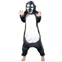 Adult Animal Wolf Costume Pajamas Set Sleepsuit Onesie Sleepwear Pyjamas Unisex Gray Cub Coyote Cosplay One