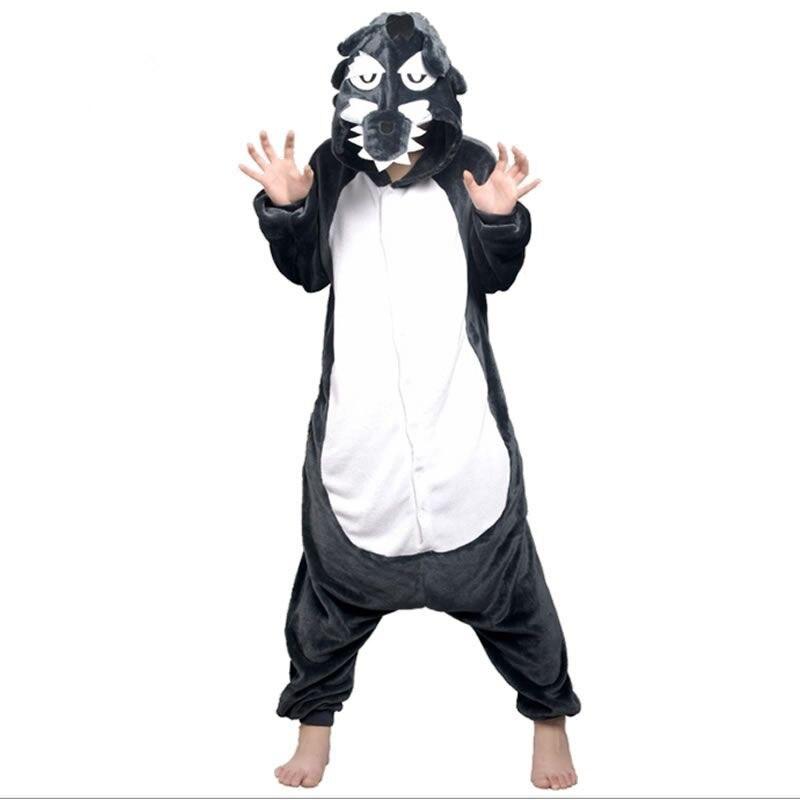 Adult Animal Wolf Costume Pajamas Set Sleepsuit Onesie Sleepwear Pyjamas Unisex Gray Cub Coyote Cosplay One-piece Sleepwear Tops