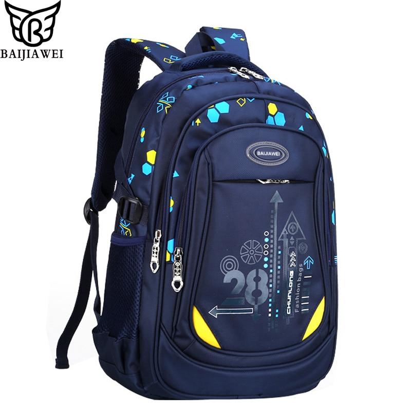 BAIJIAWEI 2017 New Primary School Bags For Children Multi pocket Big Capacity Backpacks For Boys Girls