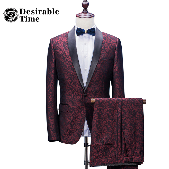 Custom Made Mens Burgundy Printed Wedding Suits With Pants Shawl Collar Slim Fit Groom Party Suit Men DT400