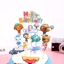 1set/pack Kids Girls Favors Decoration Baby Shower Birthday Events Party Cake Topper Octonauts Theme Cupcake Toppers With Sticks