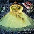 Pavão Vestidos Amarelos Da Dama de Honra Vestidos de Dama de honra Curto 2016 Da Pena Do Pavão Vestido de Baile Vestido de Festa de Casamento