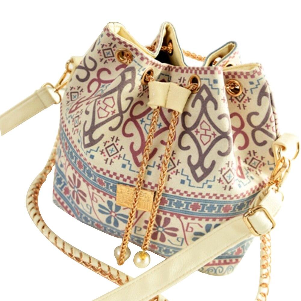 Pearl Pendant Tassel Bucket Bag Women Plaid Chain Shoulder Bag Printing Drawstring Female Handbags Womens Chain Bags Luxury NEW цена 2017