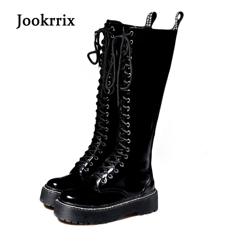 Jookrrix Autumn Winter Knee High Lady Platform Boot British Style Shoes Women Cross-tied Boots High Quality Black Flat Warm Boot jookrrix autumn fashion boots women shoe metal decoration lady genuine leather zipper martin boot breathable black western style page 10