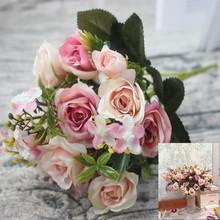 Sztuczne kwiaty 13 głowice bukiet mały bud jedwabne róże sztuczne kwiaty zielone liście wazony domowe jesienne dekoracje na ślub tanie tanio DHS12 Jedwabiu z aodiainuo Ślub Bukiet kwiatów Rose