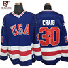 BONJEAN USA Team Ice Hockey Jersey 1980 Miracle On Ice Team USA 30 Jim Craig Stitched