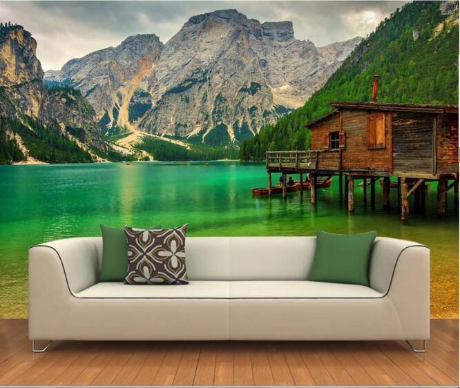 Aliexpress.com : Buy 3d wallpaper custom mural non woven 3d room wall sticker Log cabin near ...