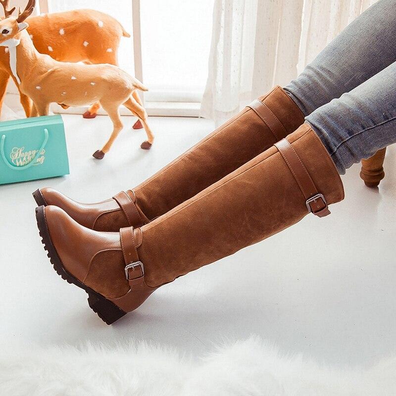 100% QualitäT Neue Plus Größe 34-43 Frauen Stiefel Frühling Herbst Lange Knie Stiefel Sapatos Femininos Platz High Heels Schwarz Braun Heiße Verkäufe Schuhe