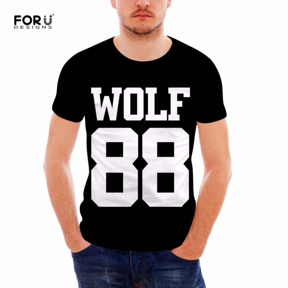 FORUDESIGNS 2018 New Fashion Men's EXO Wolf <font><b>88</b></font> <font><b>T</b></font> <font><b>Shirts</b></font> O Neck Men Tops Short Sleeve Tees <font><b>Shirts</b></font> Cotton Male <font><b>T</b></font>-<font><b>Shirt</b></font> 5 Colors image
