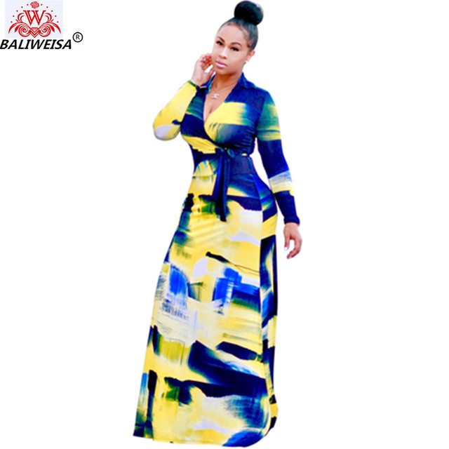 91f6bd1cac7c BALIWEISA Fashion Gradational Pattern Printed Long Dress Women Elegant Long  Sleeve Wrap Dress Sexy V Neck