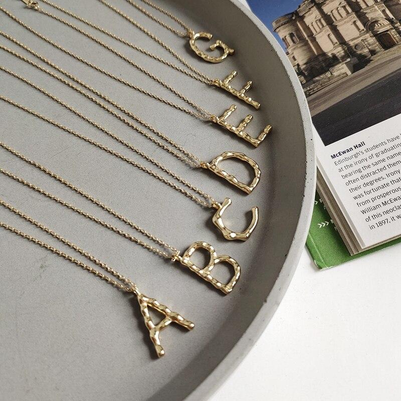 Collar de letra inglesa LouLeur 925 sterling Plata Irregular, collar con colgante de estilo nórdico para mujer, joyería de amistad