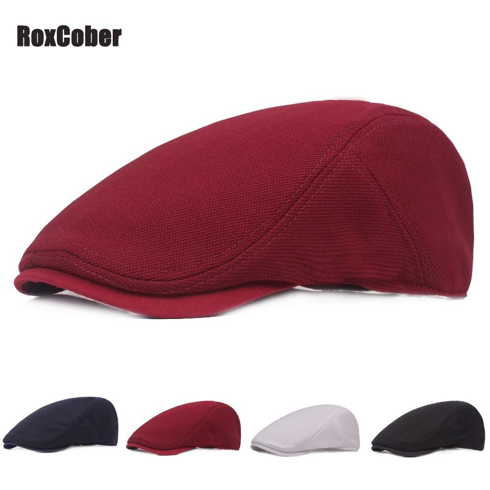 RoxCober Summer Spring Berets Breathable Ivy Flat Cap Mens Womens Simple Newsboy Caps Visor Vintage Gatsby Hat Adjustable