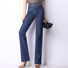 Embroidery jeans for women denim high waist casual pants straight full length trousers female plus size spring autumn 1230501