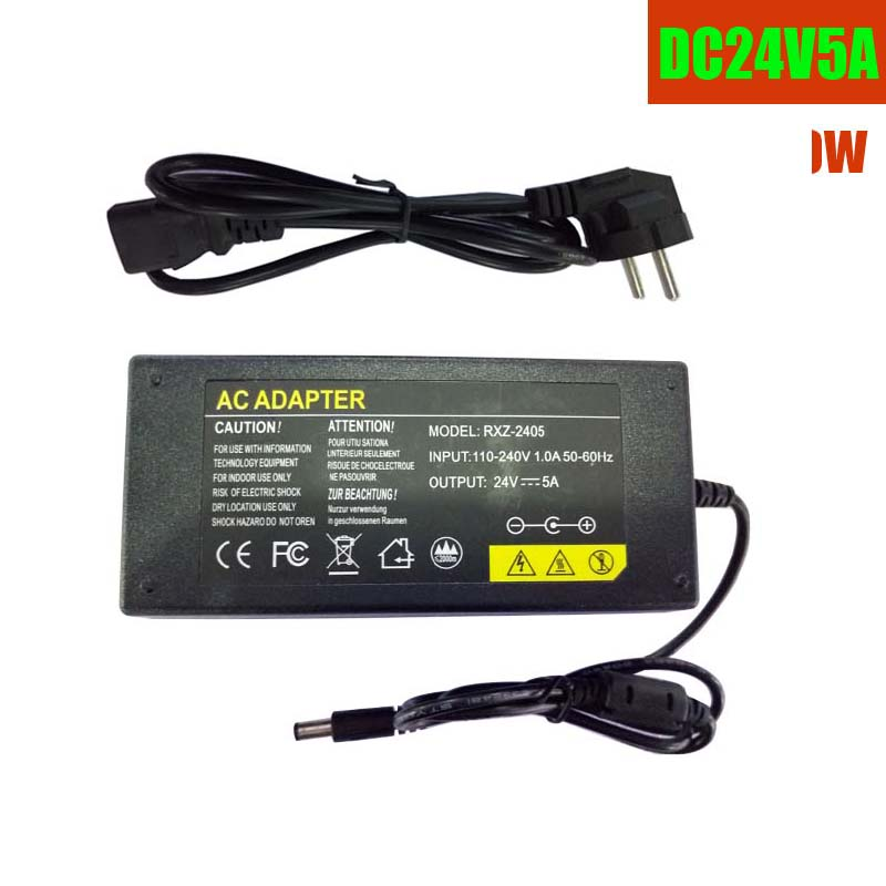 Power Supply Adapter input AC110v/220V output DC 24V 5A 100W IC protection  EU/AU/US/UK plug DC 5.5X2.1mm for IP cam Poe switch 5 pcs panel mounting us eu type female power supply plug 10a ac 250v