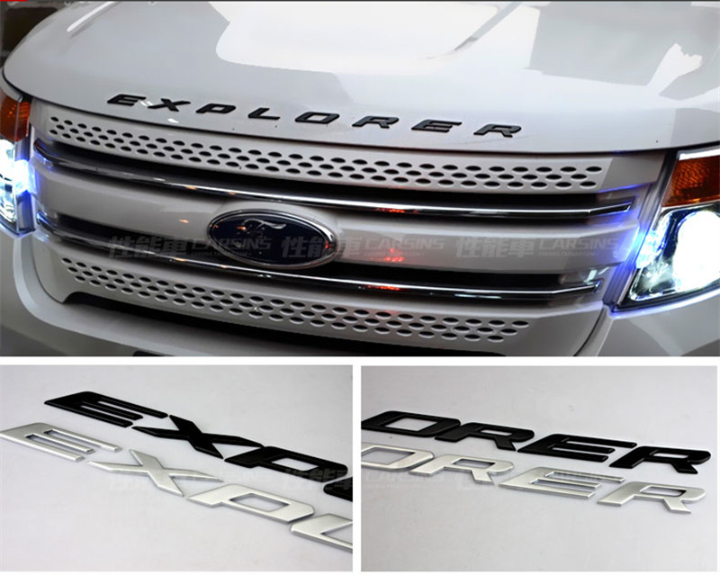 FLYJ 2017 ABS Car Styling Front Or Back Car Emblem Cover Sticker Letters Sports Style Case for Ford 3D Explorer Letters Sticker diy for 2011 2012 2013 2014 2015 2016 ford explorer sport car 3d explorer fixed letters hood emblem chrome logo badge sticker