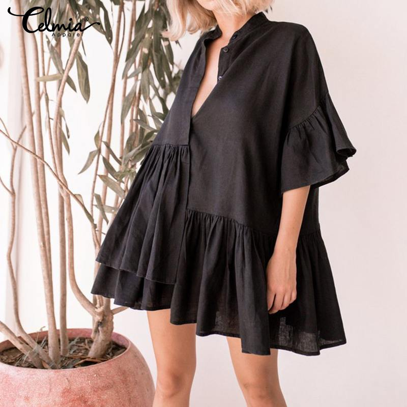 <font><b>Women</b></font> Summer Ruffle Mini <font><b>Dress</b></font> 2019 Celmia <font><b>Sexy</b></font> V-neck Casual Irregular Pleated Shirt <font><b>Dress</b></font> Party Beach Vestidos Mujer <font><b>Plus</b></font> <font><b>Size</b></font> image
