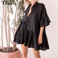 Women Summer Ruffle Mini Dress 2019 Celmia Sexy V-neck Casual Irregular Pleated Shirt Dress Party Beach Vestidos Mujer Plus Size