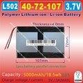 [L502] 3.7 v, 5000 mah, [4072107] polímero de íon de lítio/bateria de iões de lítio para tablet pc, e-book; banco do poder; cubo, pipo, onda, ainol, ampe