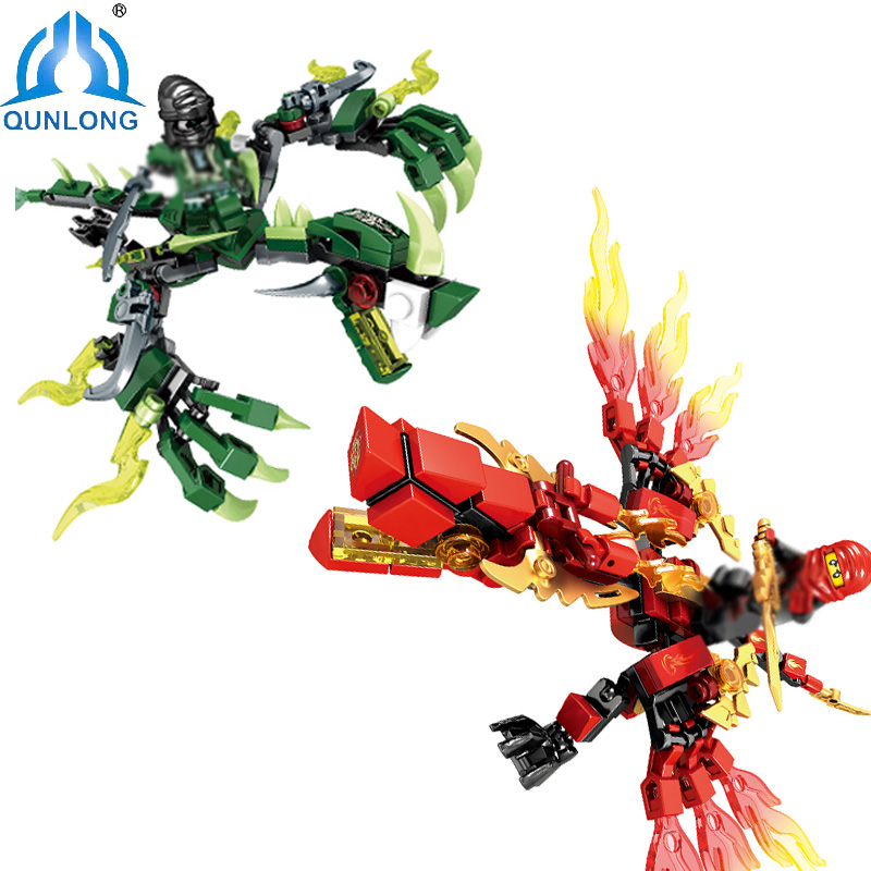 Qunlong Ninjago Dragon Knight Building Blocks Set  Figures Bricks Enlighten Toys For Children Friends Compatible Legoe Ninjagoes compatible with lego ninjagoes 70596 06039 blocks ninjago figure samurai x cave chaos toys for children building blocks