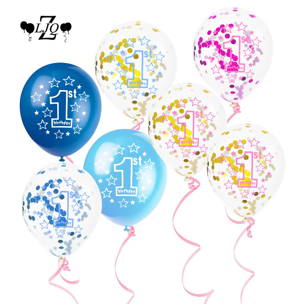 ZLJQ 1st Latex Confetti Balloon Girl/Boy Birthday Party 10pcs Number 1 Year Old Baby Shower Decoracion First Birthday Supplies