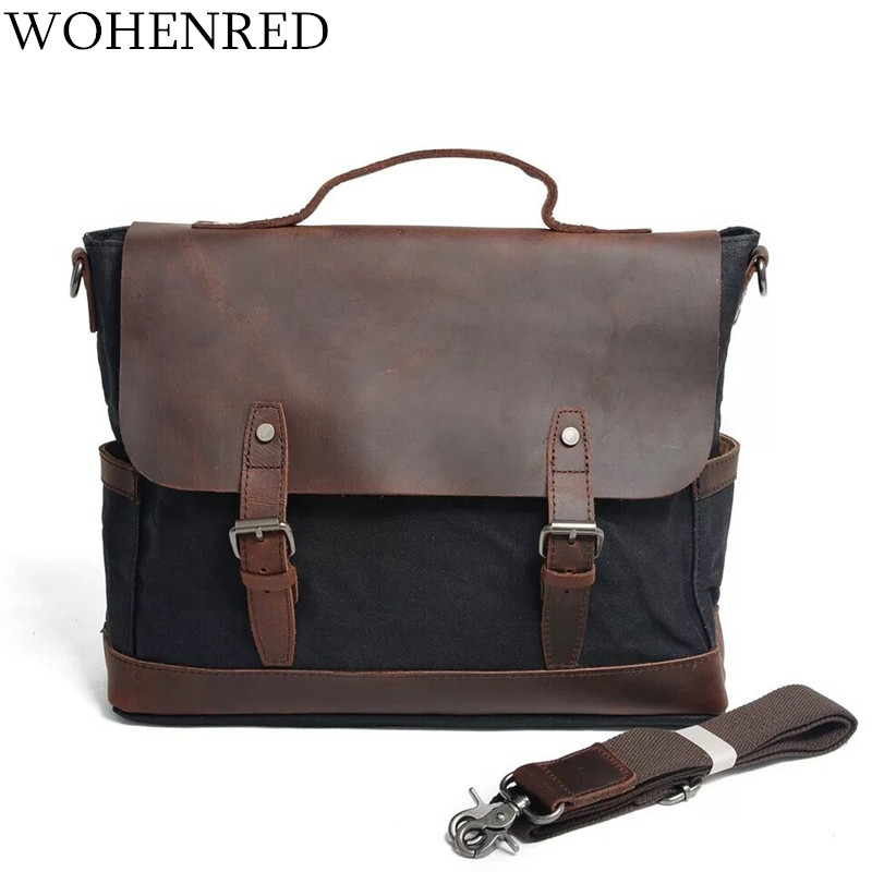цены на Men Briefcase Handbag Vintage Leather Computer Laptop Bag Canvas Shoulder Bag For Satchel Messenger Bags Casual Man Business Bag в интернет-магазинах