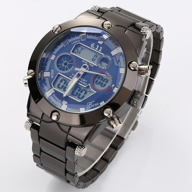 Marca de Moda de Lujo Reloj Digital Led de Los Hombres reloj Deportivo de Acero Inoxidable Reloj de Cuarzo Militar Del Ejército Relojes Masculinos
