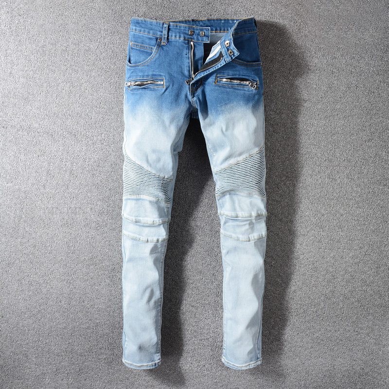2019 Fashion Streetwear Men Jeans White Blue Wash Spliced Designer Hip Hop Jeans Men Cargo Pants Multi Pockets Biker Jeans Homme