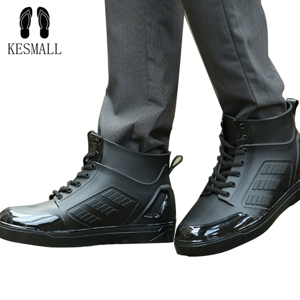 KESMALL Rain Boots Waterproof Spring Winter Shoes Men Rain Boy Water Rubber Black Ankle Boots Lace-Up Shoes WS286 special package mail between children s rain boots shoes cartoon water hero boy league men s shoes boots