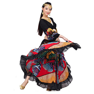 Image 2 - 2018 hohe qualität günstige gypsy bauchtanz röcke für frauen big blumen dance kostüm NMMQB01