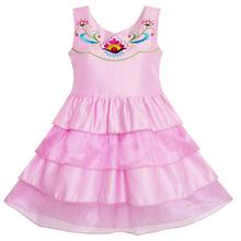 Sunny Fashion Girls Dress Embroidered Flower Tiered Cake Party Birthday Sundress 2018 Summer Princess Wedding Dresses Size 4-10