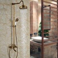 Good Quality Antique Brass Shower Set Faucet Mixers With 8 Brass Rainfall Shower Head Hand Shower