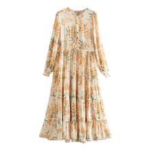 Women Sweet Floral Print Patchwork Midi Dress Long Sleeve Female Casual Mid Calf Dresses FFZYQ334 недорого