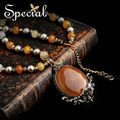 Special New Fashion Natural Stone Maxi Necklace Big Pendants Gold Necklace Fine Jewelry Gifts for Girls Women XL140902
