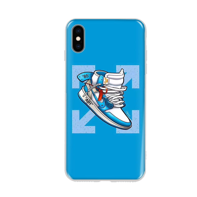 Hot Air Jordan AJ1 Ow off Suprem Soft silicon cover case for iphone 6 S 7 7  plus 8 X XR XS MAX UNC blue white phone cases coque-in Fitted Cases from ... 16975ec11