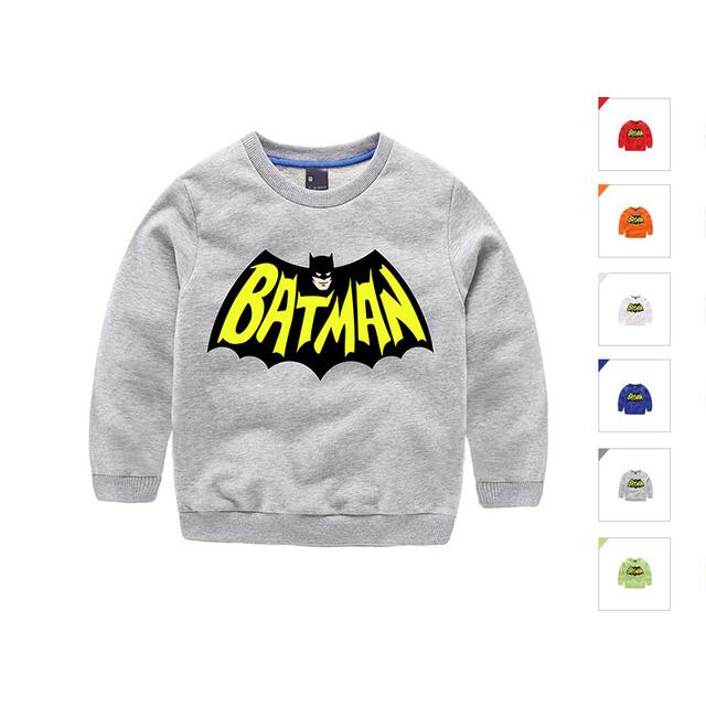 Héroe Batman Marca de calidad 100% algodón niños niños sweaters 2016 otoño ropa de moda para niños de dibujos animados pullover tops Batman