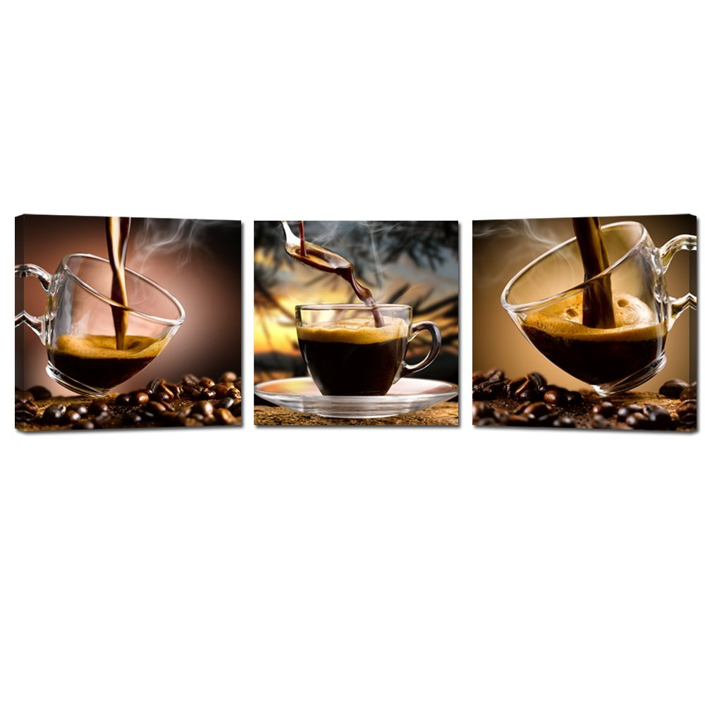 Kohls Coffee Wall Decor : Coffee canvas wall art painting cup triptych