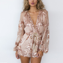 2016 speed sell tong wish amazon ebay detonation jumpsuits Europe and sequins deep V long-sleeved jumpsuits shorts