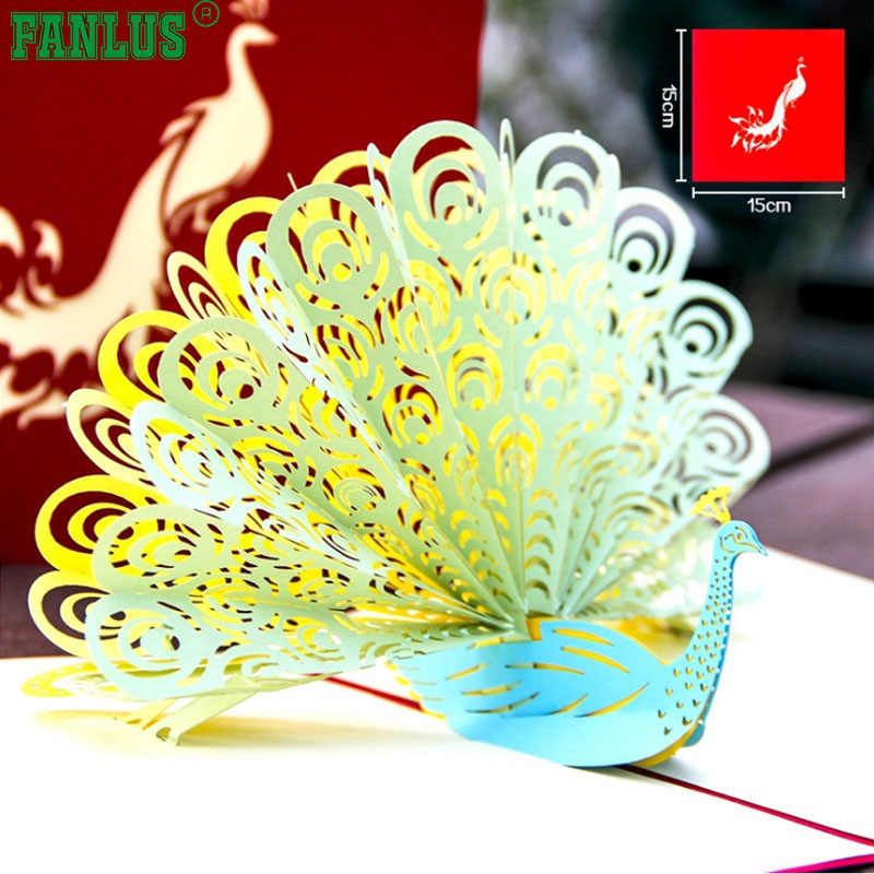 FANLUS Peacock Pop Up Birthday Card For Wife Husband Kids Day And Envelopes Handmade 3D