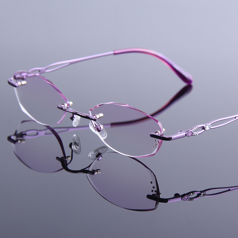 Womens Diamond Cutting Reading Glasses Metal Rimless Anti-reflective Coating Eyeglasses Female Wear Resistance Optics Eyewear