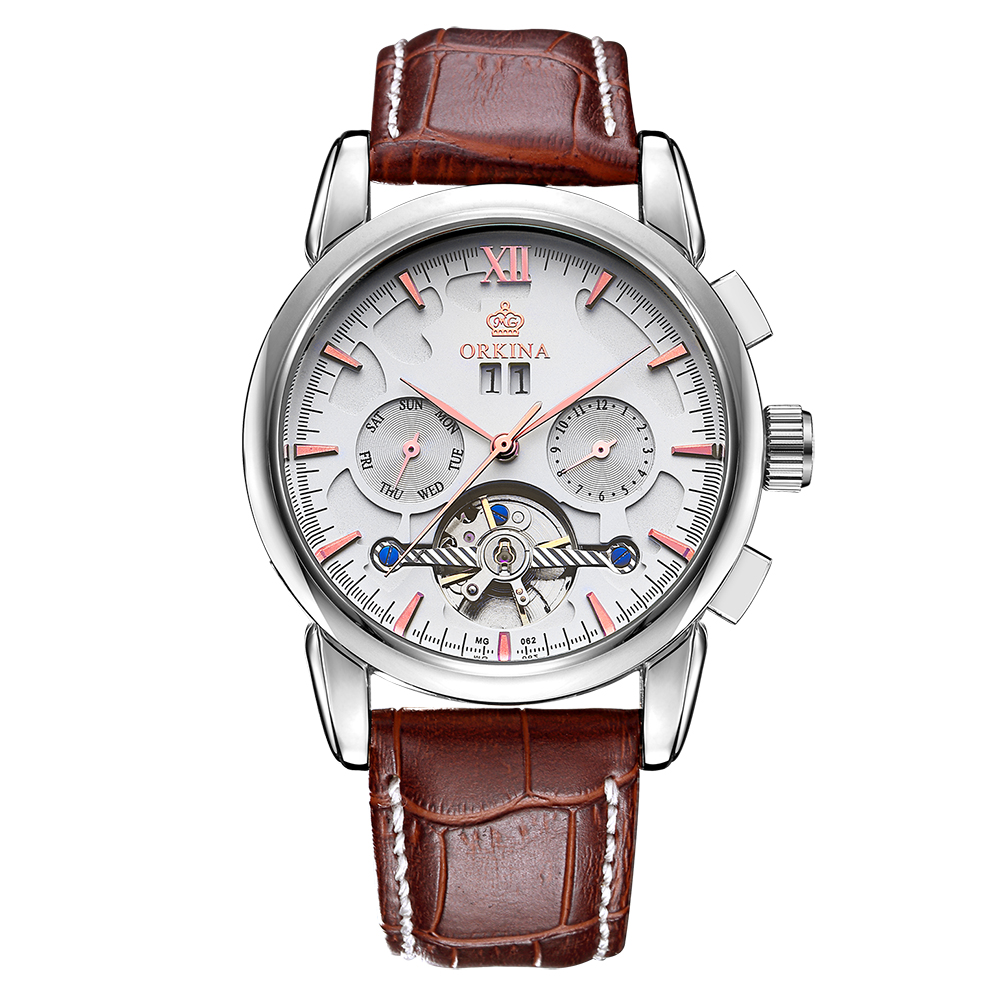 MG. ORKINA Mens Watches Top Brand Luxury Colorful Glass Erkek Kol Saati Tourbillon Automatic Mechanical Montre Homme Male Clock купить недорого в Москве